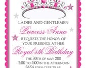 Princess Birthday Invitations, Tiara, Princess, Crown,  Fairy Princess, 3 Colors to choose from,Royal, Stickers, birthday, party