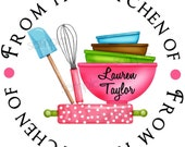 Kitchen stickers, baking labels, Kitchen Supplies, Rolling Pin, Mixing Bowls, Whisk, Baking, Cooking,  Gift Stickers, Baked Goods, Set of 12