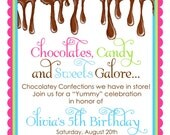 Chocolate Candy Invitations, Ooey Gooey Chocolate, Sweet Shop, Spinkles, Candy, Sweets, Treats, Birthday, Children,Party