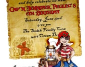 Personalized Birthday Invitations, Pirate, Party, Pirate Girl, Map, custom