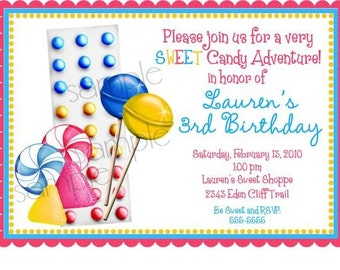 Candy Invitations, Gumdrops and Candy Buttons, Candy, Lollipop, Candy Buttons, Gumdrops, sweet shop, Birthday, Children