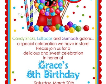Gumball Invitations, Candy Sweet Shoppe, Gumball Machine, Candy, Lollipop, Gumballs, polka dots, Birthday, Children, girls,Boys,