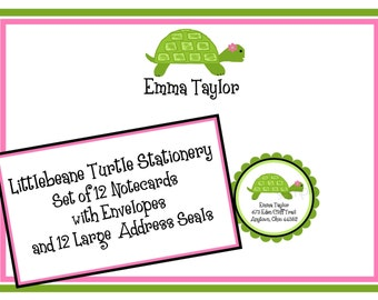 Personalized Stationery. Littlebeane Turtle, Notecards, Stickers, Address Labels, Children, Kids, Birthday Gift, Shower, Set of 12
