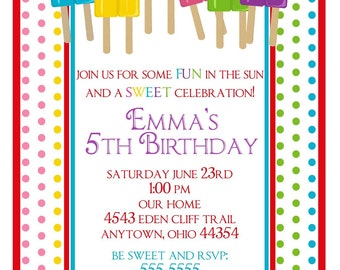 Ice Pops Invitations, Summer party invitations, Treats, favor, Birthday, Children, Kids, Stickers, Note cards, address labels