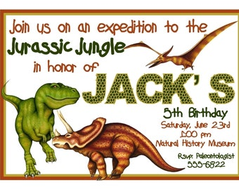 Dinosaur Invitations, Dinosaur Birthday Invitations, T Rex Invitations, Dinosaur, Prehistoric, Jurassic, T Rex, Custom