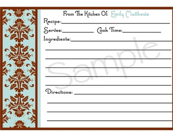 Personalized Recipe Cards Soups On Kitchen Cooking Baking