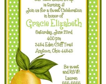 Lemon invitations, Lemon Party invitations, Lemon baby Shower invitations,Lemon Bridal Shower, Lemons, Fruit, Birthday party