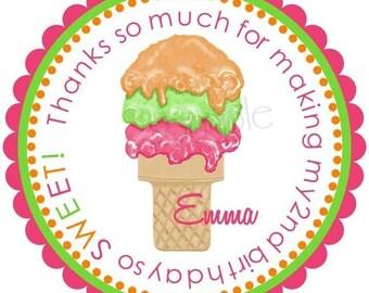 Ice Cream Cone stickers, Ice cream Party,  Sorbet, Birthday party, Labels, Birthday, favor, Children, set of 12