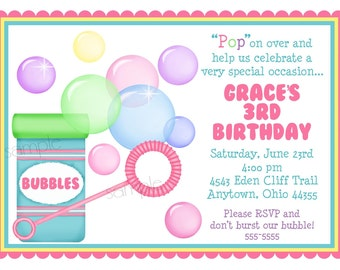Bubble Invitations, Blowing Bubbles birthday party, Bubbles party, Birthday, Party, Children, Kids,Summer, Fun, Pool Party