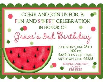 Watermelon Invitations, Birthday Invitations, Summer, Fruit, Children, Kids, Birthday, Shower, Sticker, Note cards,custom