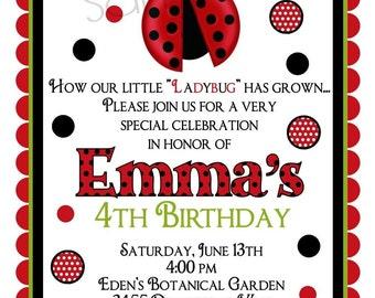 Ladybug invitations, Ladybug birthday party,  Bug invitations, ladybug invites,Baby Shower,Children, Kids