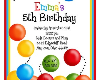 Ball Pit Invitations, Ball Pit birthday Party, Bouncy House invitations, Birthday Party, Children, Kids