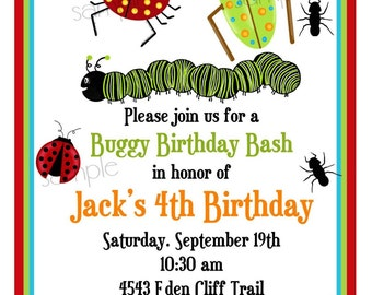 Bug Invitations, Bugs, Insects, Camping, Ladybugs, Ants, Caterpillar, BIrthday, Party, Children, Kids, Boys, Invites, Favor, stickers