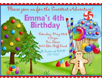 Oh Sweet Candyland invitations, PRIMARY COLORS, Candy invites,Sweet Shoppe, Sweet Shop, BIrthday, Children, Girls, Boys