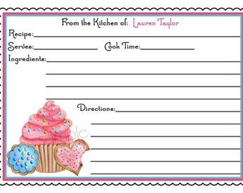 Personalized Recipe Cards Monogram Initials Baking