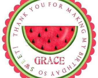 Watermelon stickers, watermelon birthday party, Summer, Fruit, labels, Seals, Favor stickers, Birthday, address labels,custom, set of 12