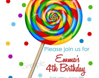 Lollipop Invitations,  candy Invitations,Sweet Shop Lollipop, PRIMARY COLORS, Lollipop, polka dots, Children, custom