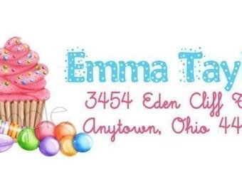 Return Adress Labels, Wonderland Sweet Shoppe, Address Labels, Seals, Envelope Seals, Candy, Lollipop, Cupcake, Children, Set of 60