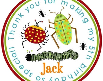 Bug party,  Bug Stickers,Bug birthday party,Insects,Camping stickers,Labels, Seals, Birthday, Favor Stickers,Gift Stickers, Set of 12