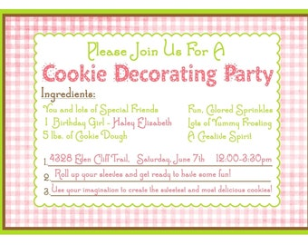 Baking Birthday Party Invitations, Cookie Decorating invitations, Sprinkles, Gingham,Recipe Card, Pink