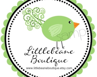 Bird  Stickers, Swirly Bird, Labels, Tags, Seals,  Promotional, Favor,  Address Labels, Set of 12