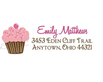 Personalized Stickers, Littlebeane Cupcake Address Labels, Labels, Tags, Seals, Cupcake, set of 60