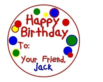 Personalized birthday stickers, Gift, Stickers, Birthday, Present, Polka Dots, Labels, Tags, Seals, Kids, Children