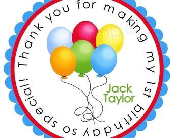 Birthday Balloon Stickers,  !st Birthday, First Birthday, Balloon gift stickers, favor labels, Rainbow Balloons, Kids Party