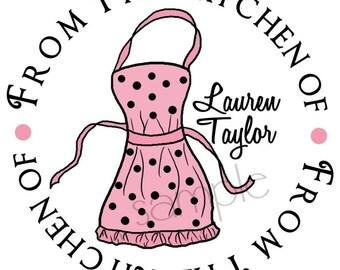 Kitchen Stickers,  Cooking Apron, Kitchen, Baking, Labels, Tags, Seals, Hostess, Housewarming, Wedding, Set of 12
