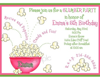 Slumber party Invitations,Sleepover invitations, Popcorn, Movie Night invitations, Girls, Teens, Labels, favor, stickers, birthday, party