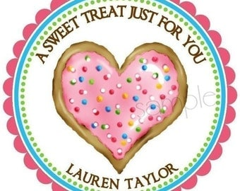 Cookie Stickers,  Heart Cookie, Sprinkles, Labels, Tags, Seals, Favor, Birthday, Set of 12