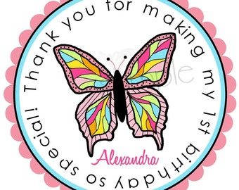 Personalized Stickers,  Littlebeane Butterfly, Labels, Tags, Seals, Birthday, Favor stickers, Embellihsment, set of 12