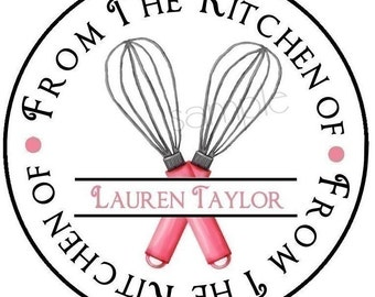 Personalized Baking Stickers/Labels/Tags/ WHISK/Cooking/Custom, baking labels, Kitchen stickers