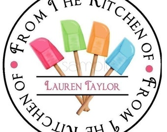 Kitchen Stickers, Rubber Spatulas, Baking stickers, Cooking, Kitchen, Labels, tags ,food labels, embellishment, favor, set of 12