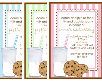 Cookies and Milk invitations, Milk and Cookies Invitations,  Cookies and Milk Birthday party, Party, Kids, baby, chocolate chip cookie