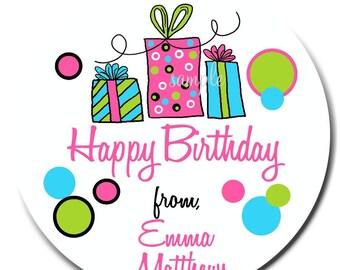 Birthday Gift Stickers, Littlebeane Birthday Gifts, NEW HOT COLORS, Children, Kids, Favor, Polka Dots, Set of 12
