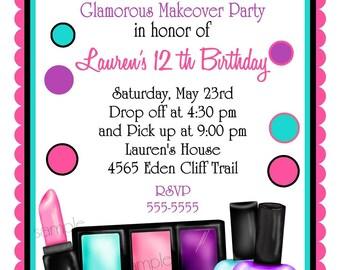 Make up Birthday party Invitations, Make up, Makeover, Sleepover, Slumber Party,Bath and Body, Spa, Lipstick, Eyeshadow, Nail polish