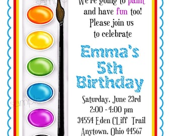 Art Invitations, Painting Party , Birthday Party, Paint Box, Paint Pallette, Crafts, Birthday, Boy,Girl, Party, Favor Stickers