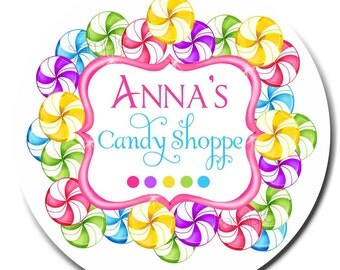 Personalized Candy Stickers, Candy Shoppe Swirl, Rainbow, Candy,  Birthday, Children, girls, Labels,  seals, favor,  custom