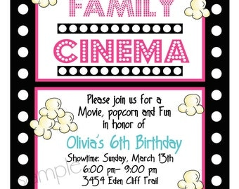 Movie Night Invitations,  Movie night  Birthday party, Sleepeover, slumber party, Movie and Popcorn, Children, kids, film strip