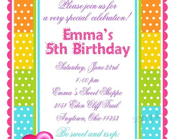 Sweet Shoppe Invitations, Candy Birthday Party Invitations, Pop Candy, Heart,  Rainbow,  Sweets, Candy, children, kids
