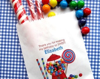 Personalized Candy Bags, Gumball machine candy bags, Candy Favor bags, Sweet Shop Favors,Candy Buffet, Birthday party, Sweets, Treats