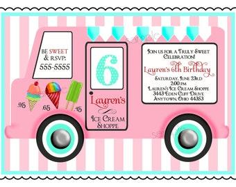Ice Cream Birthday Party Invitations, Vintage Ice cream Truck, Ice Cream Party , Ice cream Parlor, Children, Girls