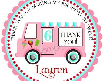 Ice Cream Birthday Party  Stickers, girls, Vintage Ice cream Truck, BIrthday Party , Children, set of 12 stickers