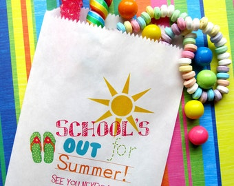 Schools out for summer , Favor bags, candy bags, Candy Buffet, Birthday party, Sweets, Treats, Set of 24