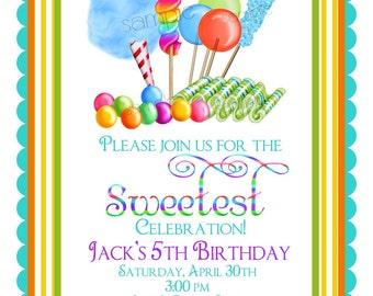 Boys Candy invitations, BOY, Sweet Shop Birthday party invitations, Candy Circus, Sweet Shoppe,  BIrthday, Children, Girls
