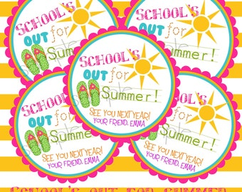 Printable, DIY, Schools Out, Sun, Flip flops, girls, Summer, Labels,  stickers, Hang Tags, Teacher, children, kids, school
