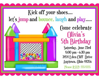 Bouncy House invitations, Ball Pit Invitations Personalized Invitations, Girl, Birthday Party, Favor Stickers