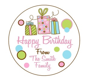 Personalized Gift Stickers, Littlebeane Birthday Gifts, Children, Kids, Favor, Polka Dots, Set of 12