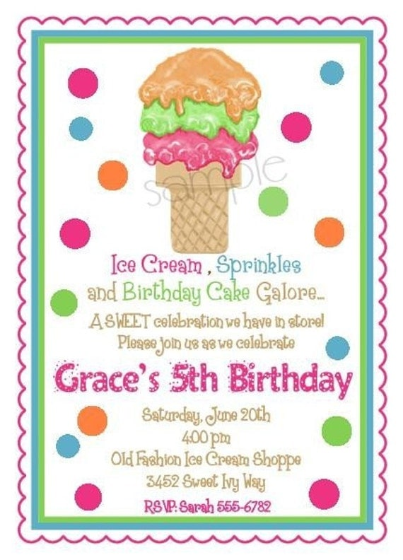 Items similar to Ice cream Cone Invitations Ice Cream Cone Party – Ice Cream Party Invites